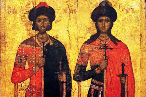 Мученики благоверные князья Борис и Глеб, во Святом Крещении Роман и Давид (1015 г.)