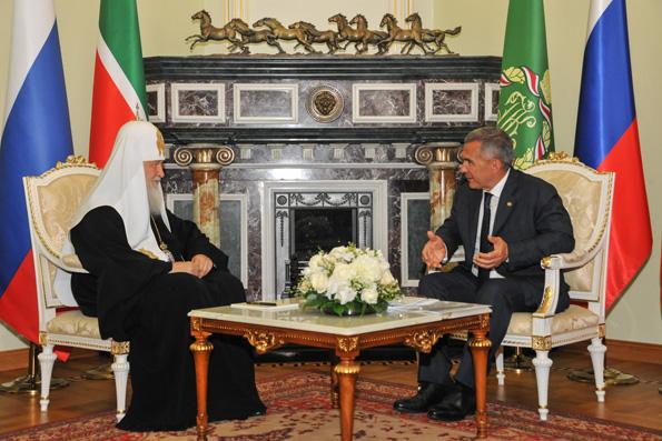 Состоялась встреча Святейшего Патриарха Кирилла с президентом Республики Татарстан Рустамом Миннихановым